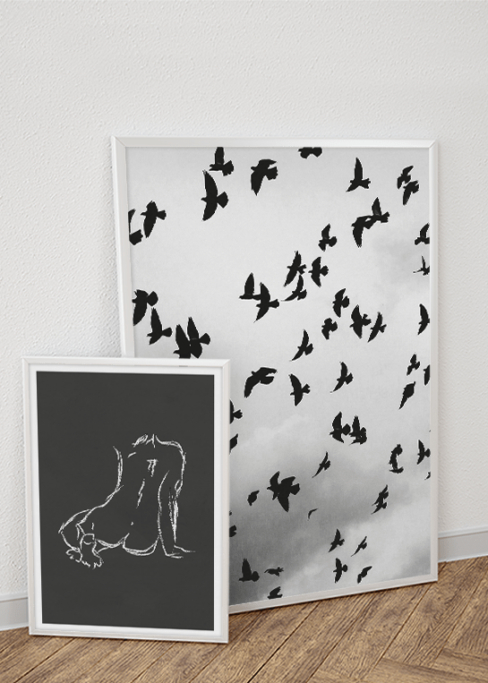 FLOCK OF BIRDS & CHALK STUDIES NO. 2 POSTERS
