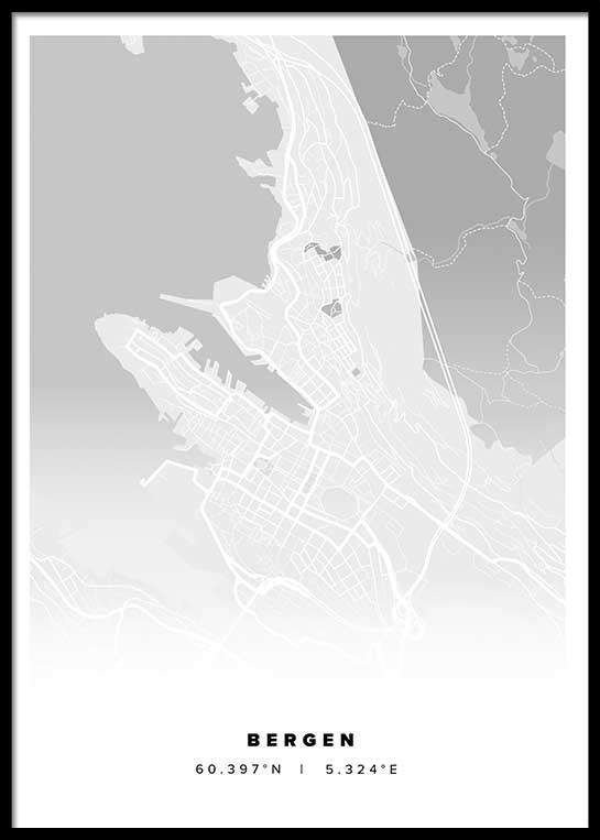 BERGEN CITY MAP POSTER