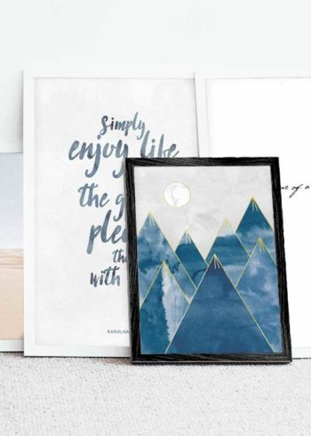 WATER COLOR MOUNTAINS & MARBLE KAROLINA KURKOVA QUOTE POSTERS