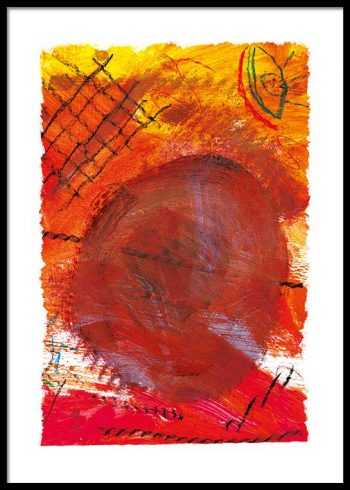 RED ABSTRACT PAINTING POSTER