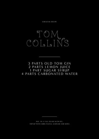 TOM COLLINS RECIPE POSTER