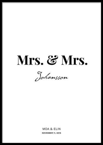 MRS. & MRS. CUSTOM MADE POSTER